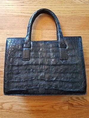 Antique Vintage Womens Crocodile Leather Hand Bag Modell Goldpfeil GERMANY Auth.