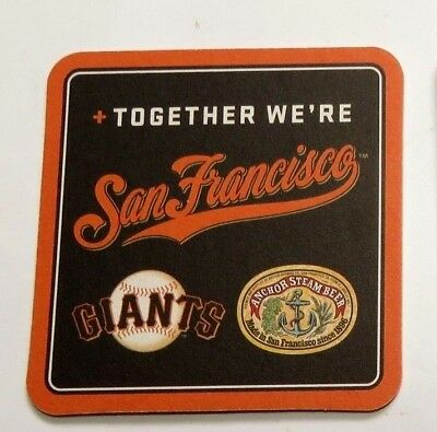 ANCHOR STEAM BEER + GIANTS Together We're San Francisco 4 inch Beer Mat Coaster