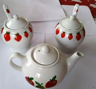 Strawberry Teapot With Lidded Sugar Bowl And Jam Pot