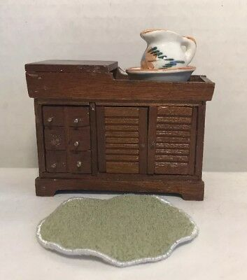 VTG Dollhouse Miniatures Shackman Victorian Dry Sink/ Basin & Accessories Lot