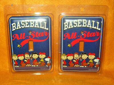 SET CHARLIE BROWN PEANUTS SNOOPY Baseball All Star Light Switch Plate Covers