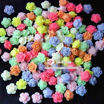 New Mixed Color Rose Flower Spacer Loose Beads 50Pcs 13mm