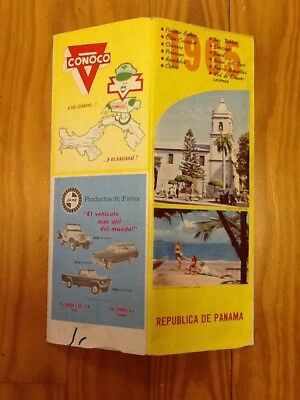 Vintage 1965 CONOCO Republic of Panama / Canal Zone Street Road Map Jeep Adverti