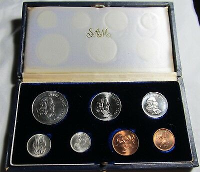 South Africa 1965 7 Coin Proof Set, Contains Silver 1 Rand Coin