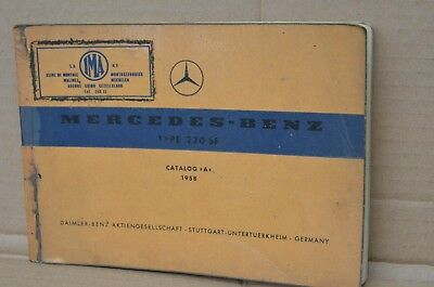 "Mercedes Benz type 220SE catalog ""A"" 1958 mmoetwil@hotmail.com  GSM +32475277772"