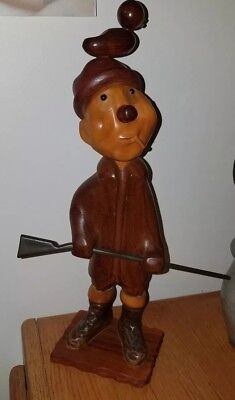 Romer Wood Italy Hunter Sculpture with Duck on Head & Rifle