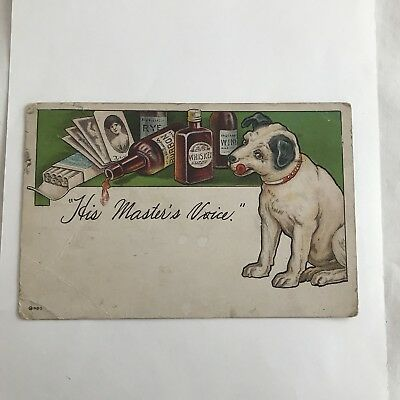 Vintage used post card comedy His Master's Voice
