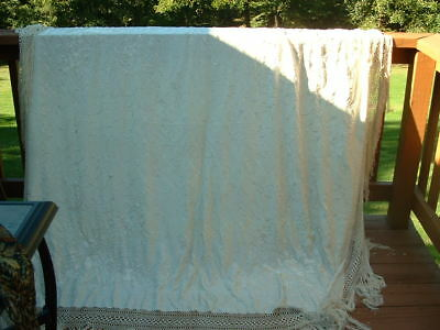 Vintage Embroidered Silk Piano Shawl Vintage Antique Ivory Color Shawl