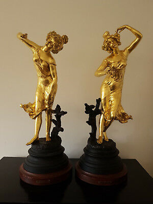 Large French gilded figurines, labels 'Per D. Grisard', raised on plinths 19c