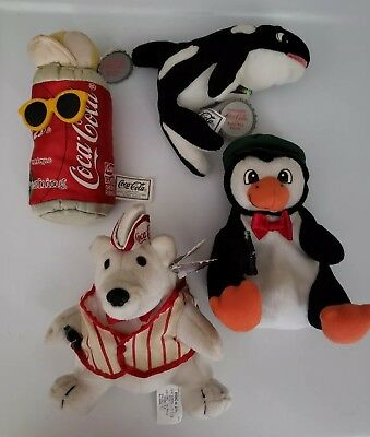 Lot Of 4 Coca Cola Plush 1997 1998: Whale, Bear in Vest, Can, Penguin