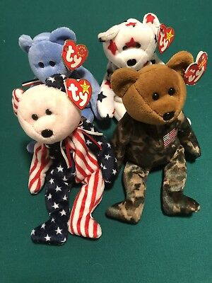 Lot Of 4 Patriotic Ty Beanie Babies With Tags.  Spangle America Glory Hero