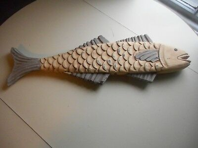 Vintage carved and painted Wooden Fish on Stand.