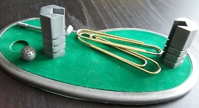 #2 Golf Business Card Holder & Gold Paperclips Executive Desk Accessory Boxed