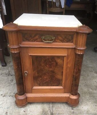 Renaissance Walnut And Burl Marble Top 1/2 Commode