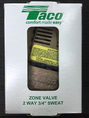 "Taco 571-2 2 Way 3/4"" Sweat Zone Valve New In Box Free Shipping"
