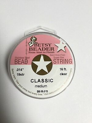 "betsy beader .014"" medium classic steel stringing wire 10 spools"