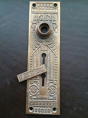 Antique Door Knob Back Plate Victorian Eastlake Swinging Key Entry Size Large