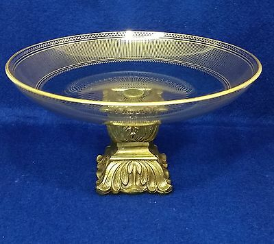 Vintage Hollywood Regency Painted Gold Glass Compote Bowl Stemmed Candy Dish