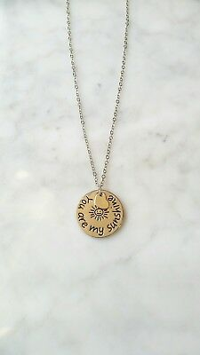 YOU ARE MY SUNSHINE Love Inspiration Positive Charm Silver word Necklace Word