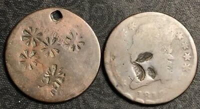 Rare Pair Of Odd & Unusual Counterstamped Large Cents 1809 & 1812 #CLL9
