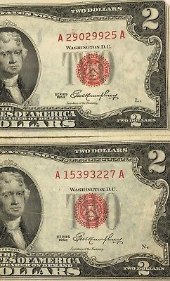 Assorted Lot of (1953) Red Seal $2 Bills. Vintage A Series Banknotes