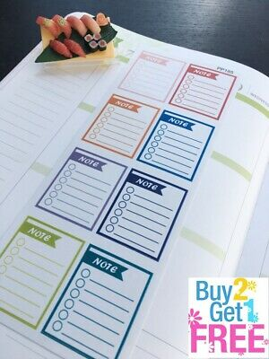 PP185 -- Weekly Note Checklist Life Planner Stickers for Erin Condren 8pcs