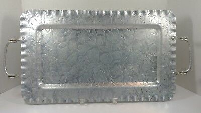 """VINTAGE Hammered Aluminum Serving  Tray w/ Fruit & Flowers 18""""X11"""""""
