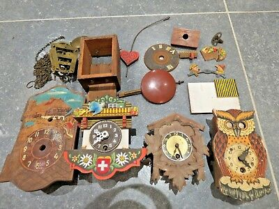 3 Vintage Minature Cuckoo Clock Germany, Owl Clock moving eyes and spares