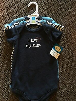 NEW WITH TAGS! Luvable Friends 3 Body Suit 6-9 Months/Boys with matching Bibs