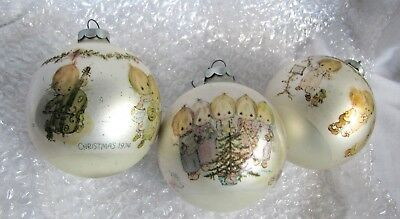 3 Hallmark Betsy Clark Glass Ball Ornament's 2 Are Same Used No Boxes