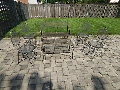 Vintage Salterini Woodard Wrought Iron Patio Furniture Set Bench Table 4 Chairs