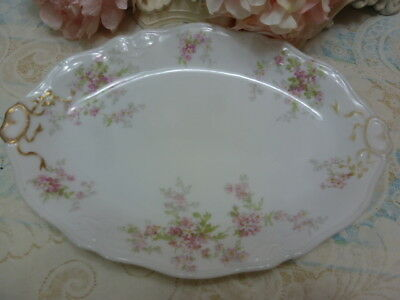 Vtg  Antique French Limoges Platter Pink Roses Swags Bows Platter Shabby Chic