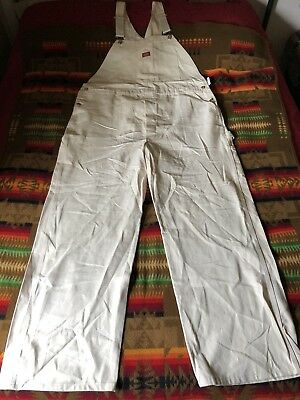 mens 46 32 NOS vintage Dickies white overalls button-fly bibs USA