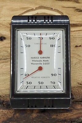 Vintage Advertising Thermometer Hygrometer Harold Karnuth Warrenville Illinois