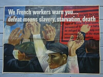 1942 U.S. Government World War II Ben Shahn Poster, We French Workers Warn You