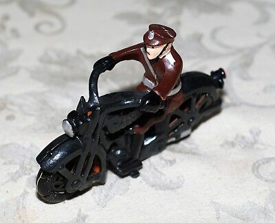 Vintage Cast Iron 1930s; Motor Cycle-Harley Davidson with rider & rubber wheels