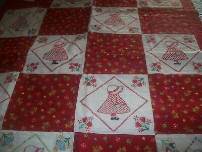 Sun Bonnet Sue Crib Quilt New With Embroidered Blocks.