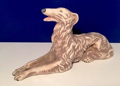 Borzoi Russian Wolfhound Dog Figurine Ceramic Porcelain Sculpture Collectible