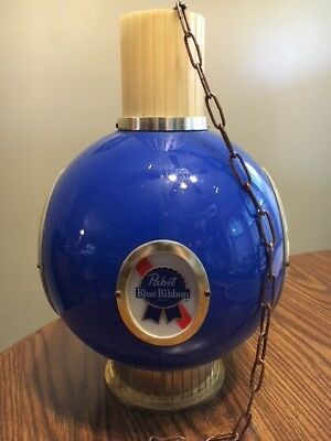Two Pabst Blue Ribbon Beer Vintage Sign Hanging Chandelier Bar 4-side 1964