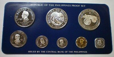 1977 PHILIPPINES - OFFICIAL PROOF COIN SET (8) with 2 SILVER CROWNS - VERY RARE!