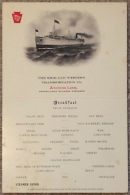Erie & Western Transportation Steamship Anchor Line Menu Steamer Japan, Postcard