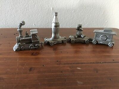 Vintage Coca-Cola 4 Piece Pewter Train Set