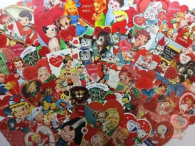 Large Lot of 50 Vintage Die Cut Valentine Greeting Day Cards