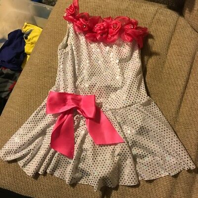 Weissman Costumes Dance Competition Sequins White Dress With Pink Bows Size SC