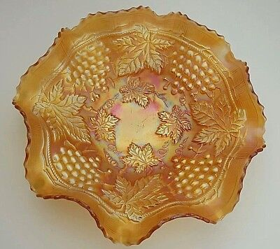 "Northwood Carnival Glass Grape & Cable Marigold Luster Large Ruffled 11"" Bowl"