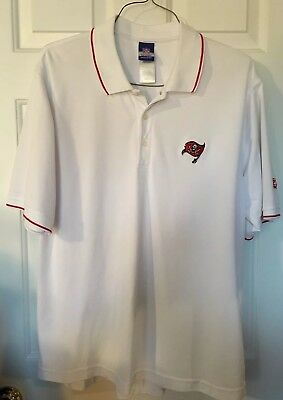 Tampa Bay Buccaneers Polo Shirt Mens Size Small White Nfl Logo