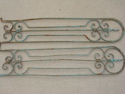 Antique Wrought Iron Garden Gate Guards Architectural Salvage Pair Vintage