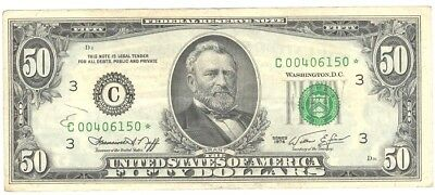 """1974 - $50.00, FED. RES. """"STAR NOTE"""" """"CRISP, FINE"""", UNGRADED,  STAMP Last One"""