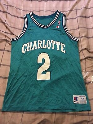 Vintage Larry Johnson  2 Charlotte Hornets Champion Jersey Men s Size 44 90378a905