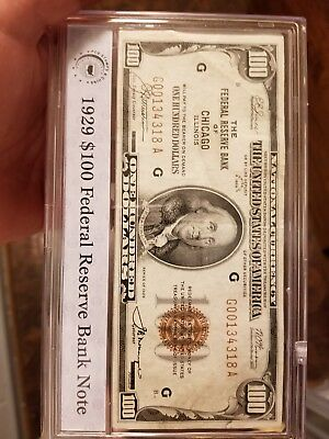 1929 $100 One Hundred Dollar Bill Federal Reserve Bank Note Of Chicago Illinois